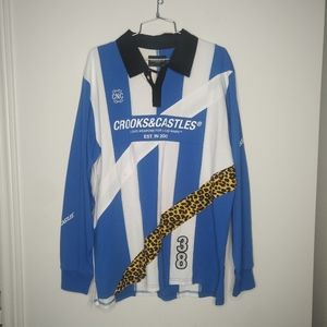 Crooks and Castles - mens rugby shirt - NWT - larg